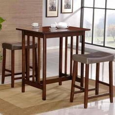 Nova Cherry 3 Piece Counter Height Dining Room Table Kitchen Bar Stool Chair Set via Rumma.ge