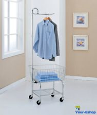 Rolling Laundry Butler Utility Cart Center Metal With Wheels