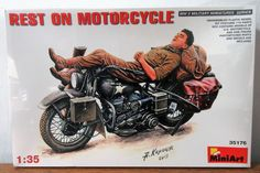 MiniArt 35176 WWII military miniature Rest on a Harley Motorcycle model kit 1/35 #Miniart