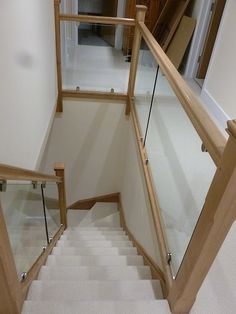 An oak single turn, winder staircase with glass balustrade. – Home Renovation Timber Staircase, House Staircase, Oak Stairs, Glass Stairs, Staircase Remodel, Staircase Makeover, Staircase Design, Staircases, Stairs With Glass Panels
