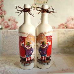 Wine Bottle Crafts, Handmade Home, Decoupage, Christmas Decorations, Home Decor, Decoration Home, Room Decor, Home Interior Design, Christmas Decor