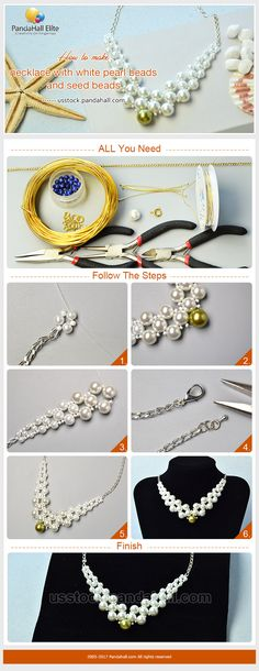 PandaHall Elite Craft Ideas on how to make necklace with glass pearl beads #pandahallelite #craft #handmadenecklace #diynecklace #glasspearl