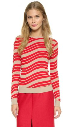 Carven Long Sleeve Sweater - Rouge