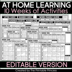 At Home Learning Activities 10 Weeks Home Learning, Learning Activities, Educational Activities, Classroom Websites, Classroom Ideas, Google Classroom, Number Line Activities, Emergency Sub Plans, Emergency Planning