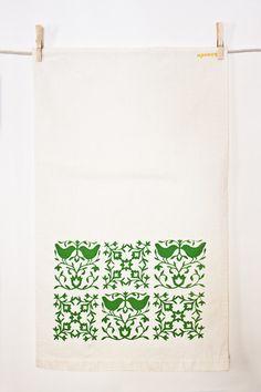 Green Bird Tea Towel from Ktaadn
