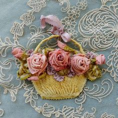 Antique French Silk Ribbons Ribbonwork Piece