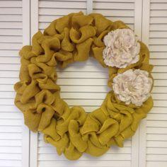 Large Yellow Burlap Wreath, Yellow Wreath with Ivory Burlap Flowers, Door Wreath for All Year, Yellow Door Decor