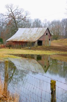 Barn reflection, Parke County on Tow Path Road south of Bowsher Ford Covered Bridge.