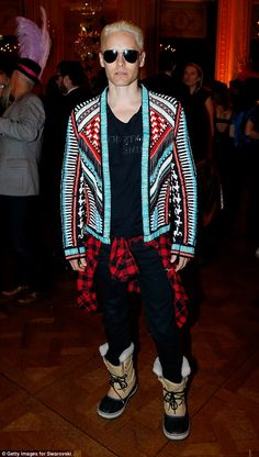 Inimitable style: Jared Leto, with his newly bleached blonde hair, made a definite fashion...
