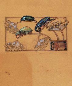 René LaliqueChoker Plaque, Scarabs on Umbel Stalks, Studies for Jewelry, circa 1900 www.sieradenschilderijenatelierjose.com