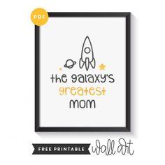 Free Printable Wall Art - The Galaxy's Greatest Mom Yoga For Kids, Printable Wall Art, Free Printables, Mom, Practical Life, Free Printable, Mothers, Kid Yoga