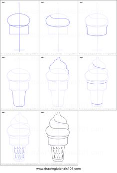 How to Draw Ice Cream Cone printable step by step drawing sheet : DrawingTutorials101.com