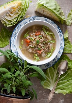 Young cabbage soup with pearl barley and sage