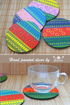 This colorful wooden coasters painted by hand in point-to-point technique #coasters #kitchendecor #painted