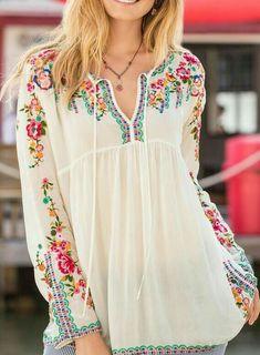Francesca Bohemian Blouse~Image via Sundance…Shop Women's Tops at Sundance. Embroidery Fashion, Embroidery Dress, Kurta Designs, Blouse Designs, Boho Fashion, Fashion Dresses, Womens Fashion, Boho Outfits, Casual Outfits