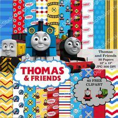 Thomas the Train Digital Paper Pack  30 by DigitalStudioDesigns