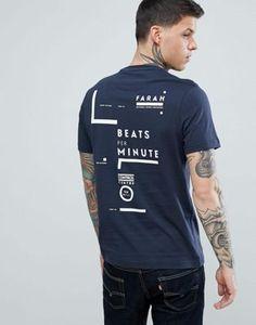 Farah Memeson Slim Fit Large Graphic Back Logo T-Shirt in Navy