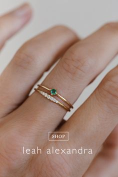 Everyday and essential- this dainty stackable emerald gemstone ring is a piece you'll cherish forever. Solid gold- just like you! Simple Jewelry, Cute Jewelry, Bridal Jewelry, Emerald Gemstone, Gemstone Rings, Aquamarine Crystal, Crystal Ring, Crystal Diamond, Emerald Bracelet