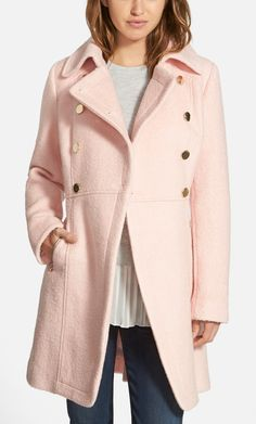 This classic military jacket gets a feminine makeover with a pretty pale pink color and polished gold hardware. Totally cute for fall!