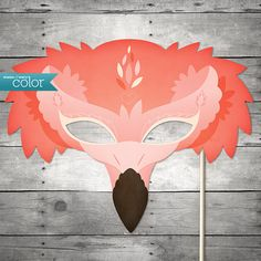 DIY Printable Flamingo Mask  Mardi Gras by ShadesOfEveryColor, $4.99