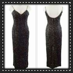 GORGEOUS BLACK  SEQUIN MAXI  PARTY DRESS STEP  INTO THIS FULL LENGTH  MAXI DRESS & TURN SOME HEADS! PERFECT  DRESS FOR HOLIDAYS & SPECIAL  EVENTS,  THIS DRESS FEATURES  A SWEETHEART NECKLINE,  SPATG STRAPS, SEQUIN & BEAD EMBELLISHMENTS. HIDDEN  ZIP BACK CLOSURE  FINISHED  OFF WITH A NICE SLIT  TO SHOW THOSE LEGS, IN THE BACK. MATERIAL - SHELL  100% SILK/ LINING  100% POLYESTER.  THIS DRESS IS STUNNING & PERFECT  TO SHOW OFF THOSE CURVES.  PERFECT  FOR ALL OCCASIONS. ❤❤(L9) Laurence  Kazar…