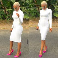 Platinum Blonde cropped hair, all white dress with a pop,of hot pink heels  Pinterest: @PrettyBlck