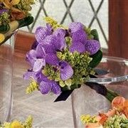 purple orchid and green hydrangea bridesmaid bouquet $85