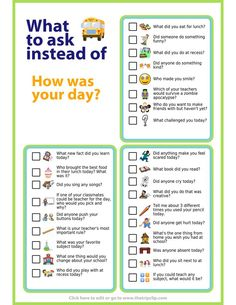Try these questions to get your kids talking about their school day. Tape them t… Try these questions to get your kids talking about their school day. Tape them to the inside of a cabinet door and pick a couple… Weiterlesen → Love Quotes For Boyfriend Romantic, Parenting Advice, Kids And Parenting, Parenting Classes, Parenting Styles, Positive Parenting Solutions, Foster Parenting, Parenting Quotes, Gentle Parenting
