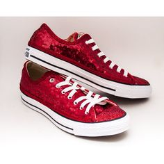 297ee753cc1c Tiny Sequin Red Canvas Converse Low Top Sneakers Tennis Shoes With...  (£125) ❤ liked on Polyvore featuring shoes