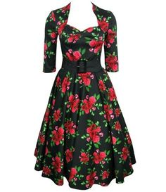 Happy customer in this lovely rockabilly floral dress Stunning vintage style, stretch cotton, 50′s dress with beautiful red rose floral fabric detail only XS available now at £39.99 £10 off