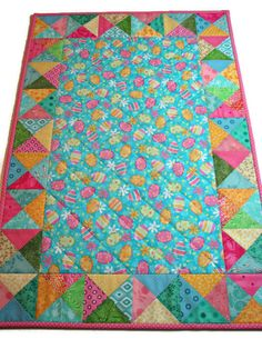 Easter Quilted Table Runner Pastel Easter Egg Table Topper