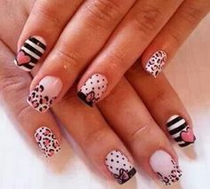 stripes, leopard and polka dots are made for me French Nails, Zebra Nail Art, Valentine Nail Art, Polka Dot Nails, Polka Dots, Nail Candy, Hot Nails, Perfect Nails, Beauty Nails
