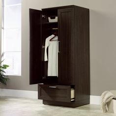 It's easier than ever to bring more storage into your home, thanks to this Bedroom Wardrobe Armoire Cabinet in Dark Brown Oak Wood Finish. This sleek storage ca Wardrobe Storage Cabinet, Wood Storage Cabinets, Wardrobe Cabinets, Bedroom Storage, Cabinet Closet, Drawer Storage, Laundry Storage, Closet Storage, Wooden Wardrobe Closet