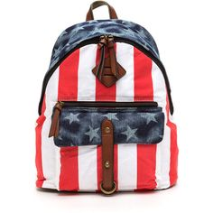 American Hero Flag Backpack MULTI ($48) ❤ liked on Polyvore featuring bags, backpacks, multi, strap backpack, sports bag, american flag backpack, faux-leather backpack and pocket backpack