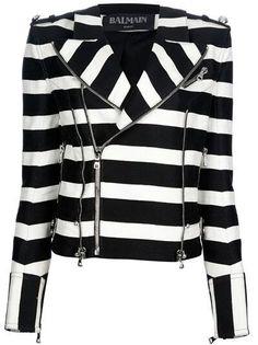 Black and white striped balmain jacket #style