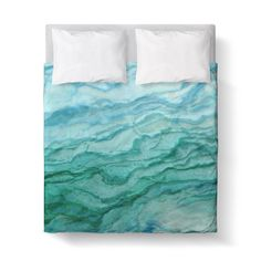 Duvet Cover, Agate Teal Blue Green by Ziya Blue
