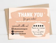 Cute Thank You Cards, Thank You Card Design, Printable Thank You Cards, Thank You Card Template, Card Templates, Thank You Card Sample, Printable Labels, Business Thank You Notes, Small Business Cards