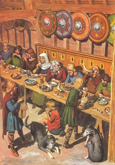 Anglo-Saxon Mead hall. Some scholars think cross-gartering is not period.: