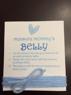 Measure Mommy's Belly baby shower game - my hubby won this game!