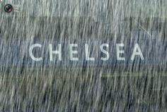 Rain falls at Chelsea's stadium during a Benfica training session in London. PAUL HACKETT/REUTERS