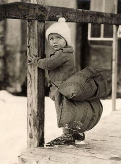 This photo is from the Netherlands, dated 1933. The little cutie looks a bit apprehensive, but you know his whole family enjoys ice skating, so he's got to get into the groove sooner or later. Luckily, he has something to fall back on! Link
