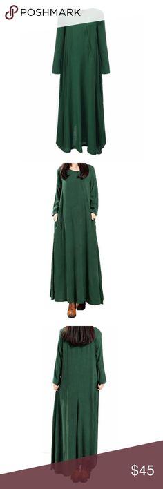 New BOHO Cotton Long Sleeve Vintage Maxi 5X Plus Womens Dress  New with tags  Zanzea  Green  Cotton  Size 5XL Plus  Shoulder: 19  Sleeve: 25  Bust: 52  Length: 57 Zanzea Dresses Maxi