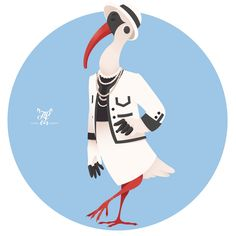 Animal Fashion: I is for Ibis in Iconic Coco Chanel suit.