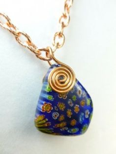 Copper Metal Spiral Millefiori Glass Pendant