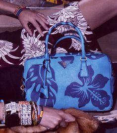 "prada tropical prints | ... ""Bright Blue Hibiscus Earrings Prada Resort Collection Spring 2014"