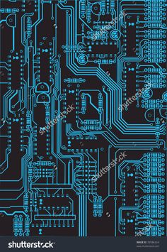 black and blue circuit board background