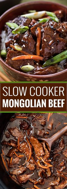 Slow Cooker Mongolian Beef Recipe - The Chunky Chef Amazingly tender Mongolian beef, made incredibly easy in the slow cooker! Just 10 minutes of prep!Amazingly tender Mongolian beef, made incredibly easy in the slow cooker! Just 10 minutes of prep! Slow Cooker Mongolian Beef Recipe, Mongolian Beef Recipes, Crock Pot Slow Cooker, Easy Mongolian Beef, Slow Cooker Beef Roast, Slow Cooker Meal Prep, Slow Cooker Lasagna, Slow Cooker Meals Healthy, Crock Pot Beef
