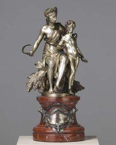 "JEAN BAPTISTE GUSTAVE DELOYE (French, 1848-1899) ""Triptoleme Apprenant de Ceres l'Art de Cultiver la Terre,"" silvered bronze sculpture (with base), 1896. Provenance: Private Collection, New Jersey."