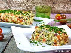 Leek and zucchini cake - Rico no, ricote Bacalhau Recipes, Zucchini Cake, Chicken Salad Recipes, Canapes, Sin Gluten, Light Recipes, Side Dishes, Recipies, Food And Drink