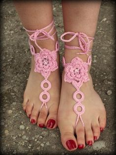 Crochet Barefoot Sandals Nude Shoes Foot Jewelry Wedding Victorian Lace | eBay
